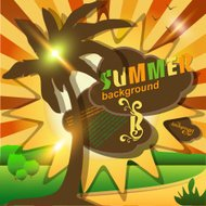 Sun summer abstract background or card. Vector illustration