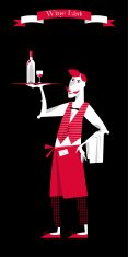Waiter with a tray of drinks. Wine List. Wine glasses silhouette