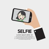 Selfie By Phone Lifestyle With Technology Vector Illustration