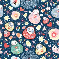 Vector seamless pattern with Russian doll — matreshka