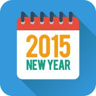 Simple new year calendar icon in flat style