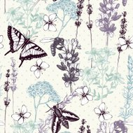 Vintage background with lilac lavender flowers sketch