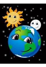 Smiling Earth, Moon and Sun