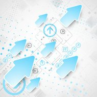 Abstract technological business background with blue arrows