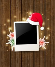 Christmas background with photo and Santa's hat