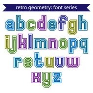 Double lines geometric font with outline, colorful letters