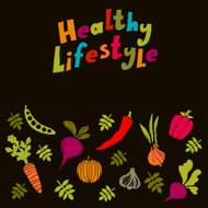 Healthy lifestyle colorful background with vegetables