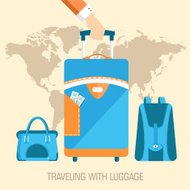 flat travel with baggage illustration design concept background.