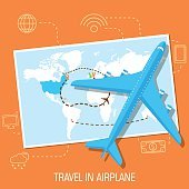 flat travel with airplane illustration design concept background