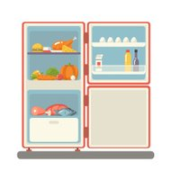 outdoor refrigerator with food products icon trendy flat design