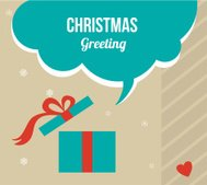 christmas greeting card with retro colored present box