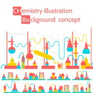 Retro experiments in a chemistry laboratory background concept.