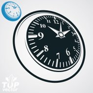 3d vector round wall clock with black dial, simple version
