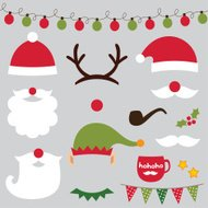 Christmas photo booth and scrapbooking vector set (Santa, deer,