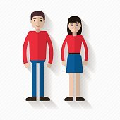 Man and woman flat illustration