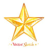 Hand drawn watercolor golden star.