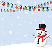 Background with Christmas light garlands and snowman