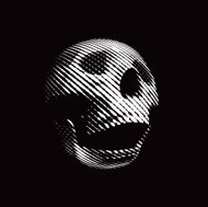 Distorted Laughing Human Skull Avatar Isolated On Black