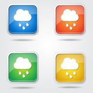 Rain Cloud Colorful Vector Icon Design