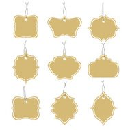 Paper tags collection isolated on white background