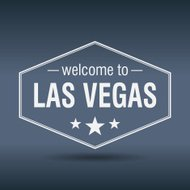 welcome to Las Vegas hexagonal white vintage label