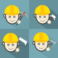 Flat Design Engineer Icon With Long Shadow Effect Vector Illustr