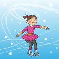 Little Girl skating on ice. STAR. WINTER ACTIVITIES.