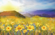 Daisy flower blossom.Oil painting of a rural sunset landscape