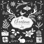 Chalk set of decorative christmas festive illustrations.