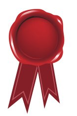 Red blank seal wax vector with ribbon