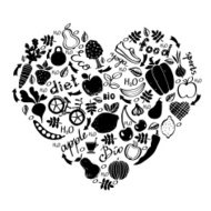 Healthy lifestyle icons design in black and white