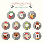 Flat Icons Set: : Christmas, Santa & Animals