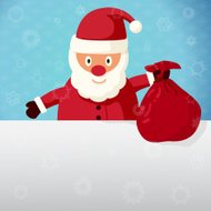 Santa Claus standing with sack of presents. Vector.