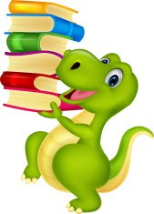 Cute dinosaur cartoon with book