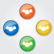 Deal Shake Hand Sign Colorful Vector Icon Design