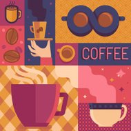 Vector coffee poster template in flat retro style