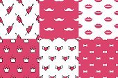 Cute seamless backgrounds for Valentine's Day.