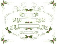 Holly banner ornament