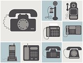 vector set of lineland home phones, old to modern