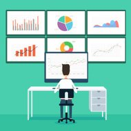 business people analytics business graph and seo on web