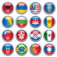 World Flag Media Buttons Four
