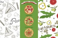 Perfect pizza set in hand-drawn style. Two seamless patterns,