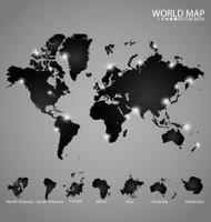 Modern world map with continents atlas. Vector illustration.