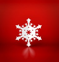 Christmas background with origami snowflake, vector illustration