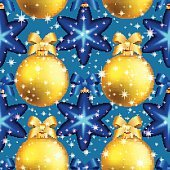 New Year pattern with ball. Christmas wallpaper with bow