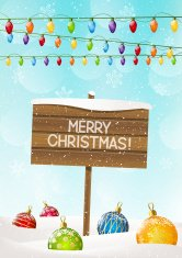 Christmas signboard on winter background