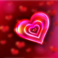 bright pink heart on purple background