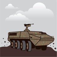 Personnel Carrier gray sky
