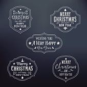 Vintage Typography Christmas Vector Badges Set