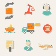 Warehouse transportation and delivery icons flat set isolated ve